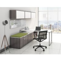 001 Preconfigured Elements Plus Workstation, With Desk, Cabinets, and Whiteboard