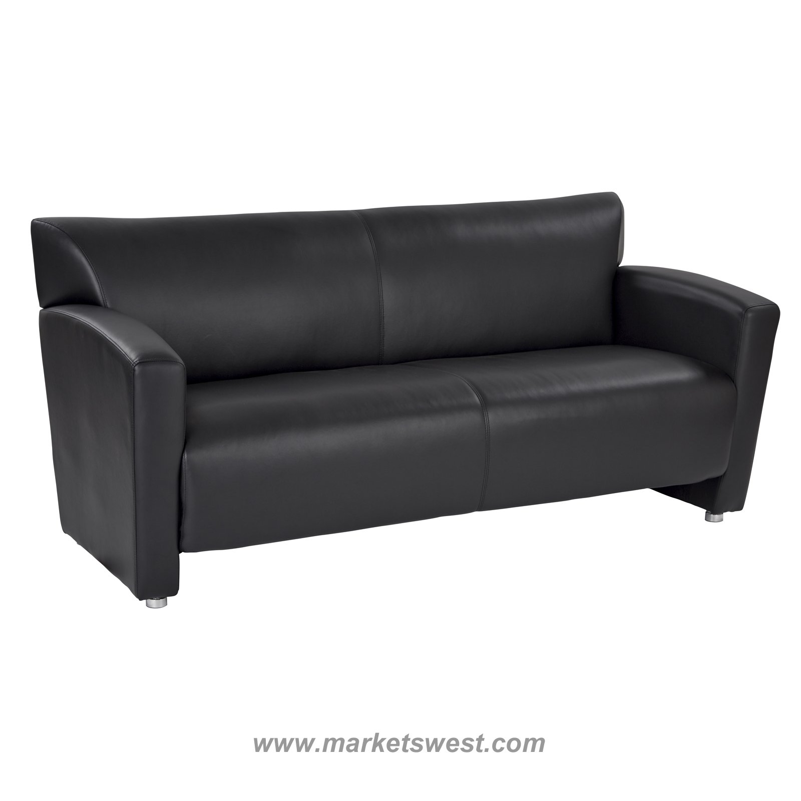 Fine Black Faux Leather Sofa With Silver Finish Legs Short Links Chair Design For Home Short Linksinfo