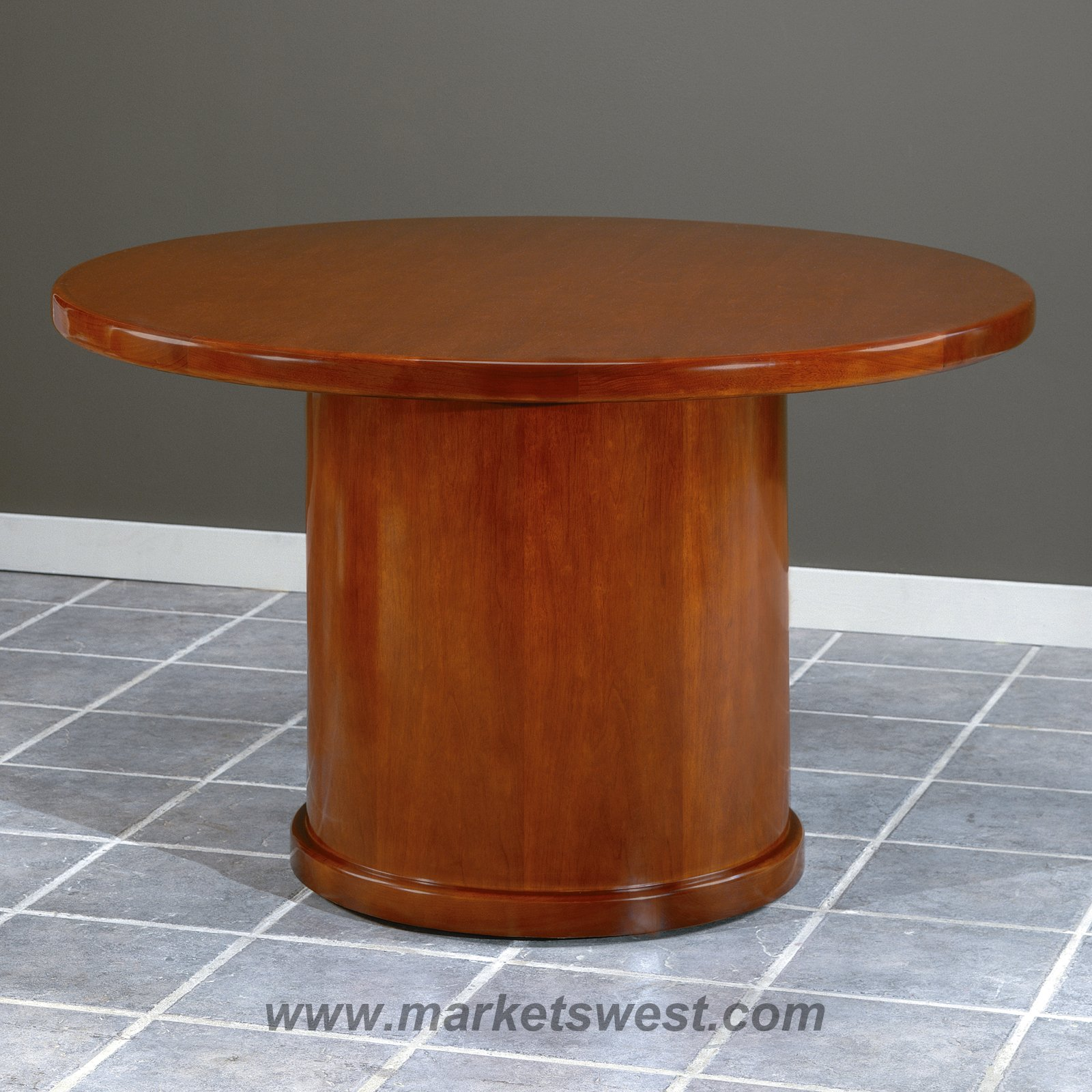 In Round Conference Table Dark Cherry Wood - Round pedestal conference table