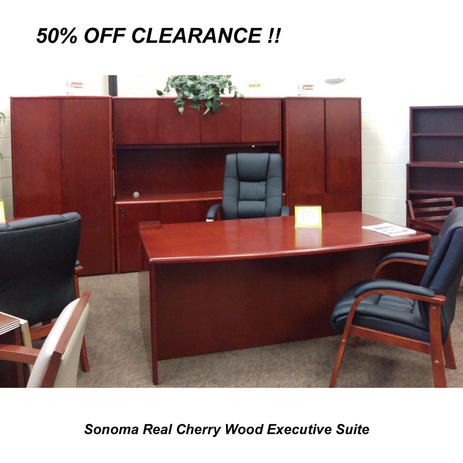 Executive office suite furniture - Executive Office Desk Suite In Dark Cherry Wood